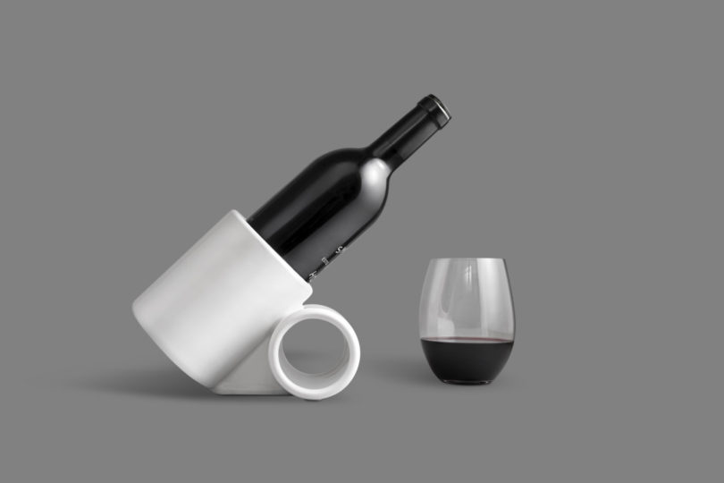 Embrace your inner sommelier: this 3D printed Porcelain wine tilt holds the bottle at a 45° angle for maximum aeration.
