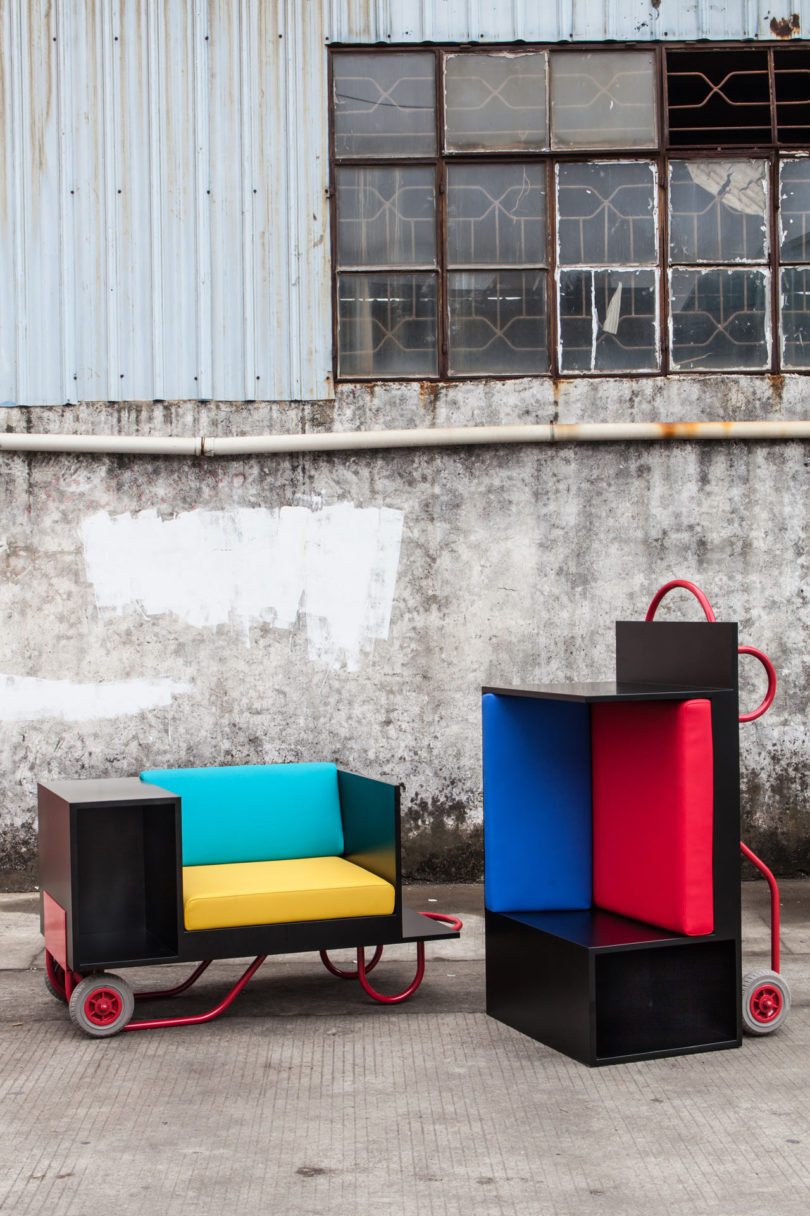 Attached To Each Design Is A Hand Truck, Which Doubles As The Base, As Well  As The Way The Furniture Is Moved Fro Place To Place.