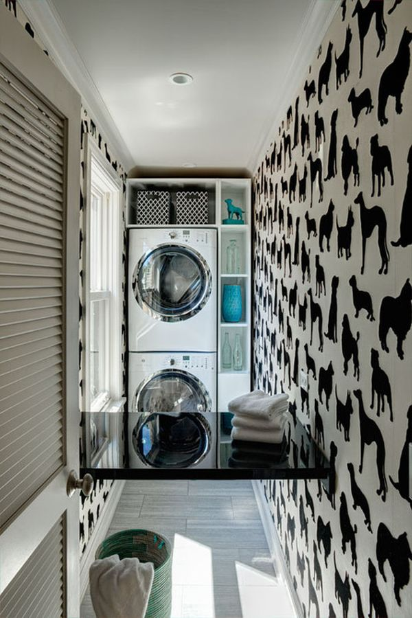 Laundry rooms with tall ceilings